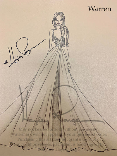 Warren- Hayley Paige Bridal Gown Printed Sketch