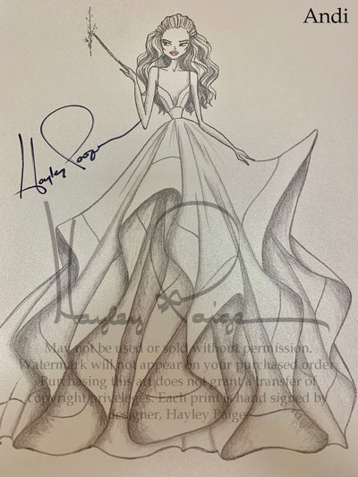 Andi- Hayley Paige Bridal Gown Printed Sketch