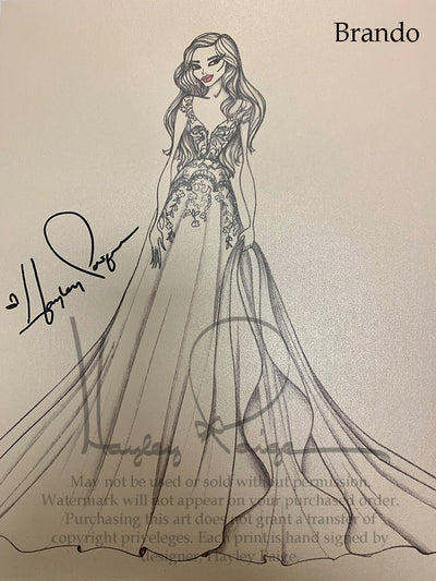 Brando- Hayley Paige Bridal Gown Printed Sketch