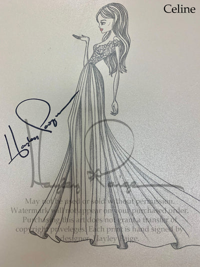 Celine- Hayley Paige Bridal Gown Printed Sketch