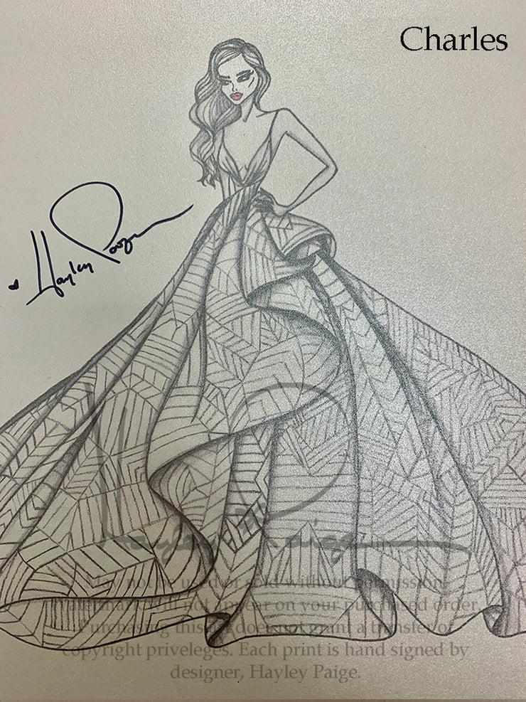 Charles- Hayley Paige Bridal Gown Printed Sketch