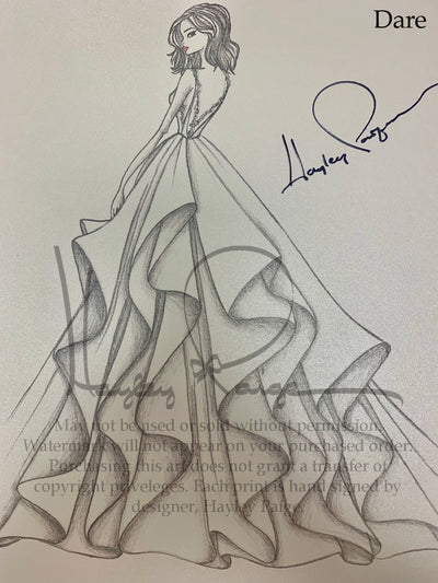 Dare- Hayley Paige Bridal Gown Printed Sketch
