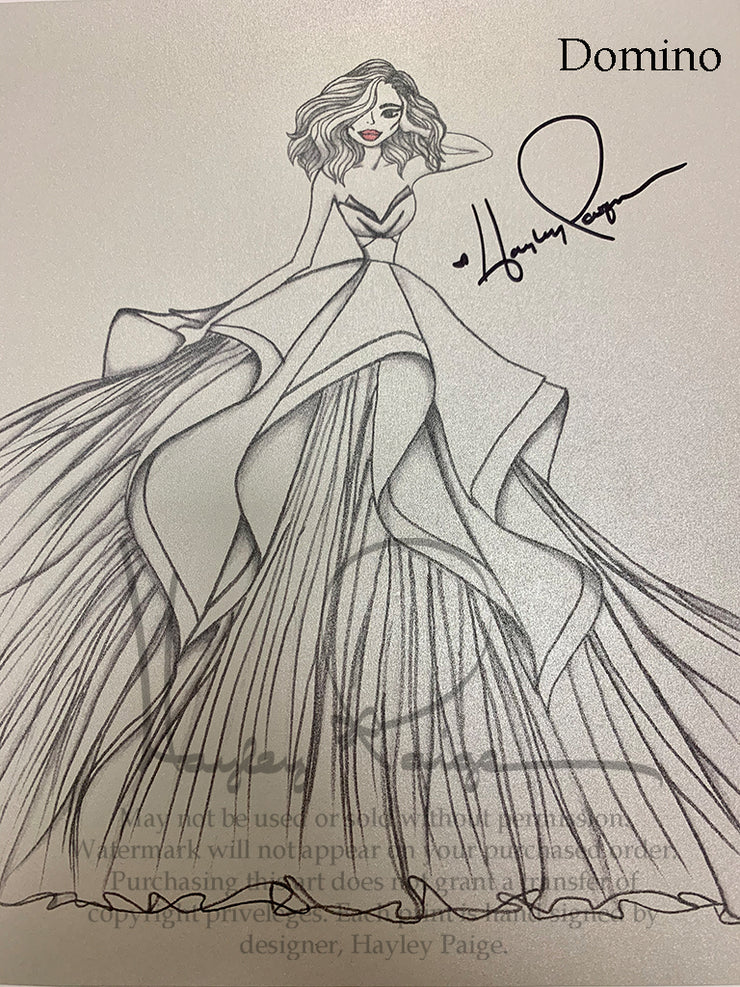 Domino- Hayley Paige Bridal Gown Printed Sketch