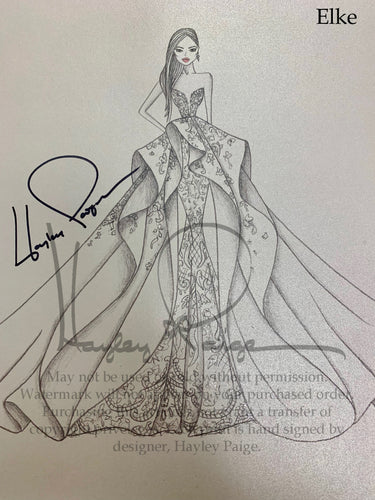 Elke- Hayley Paige Bridal Gown Printed Sketch
