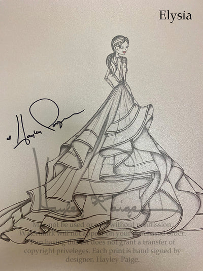 Elysia- Hayley Paige Bridal Gown Printed Sketch