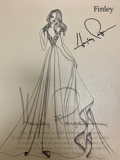Finley- Hayley Paige Bridal Gown Printed Sketch