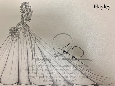 Hayley- Hayley Paige Bridal Gown Printed Sketch