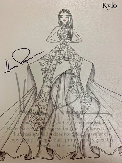 Kylo- Hayley Paige Bridal Gown Printed Sketch