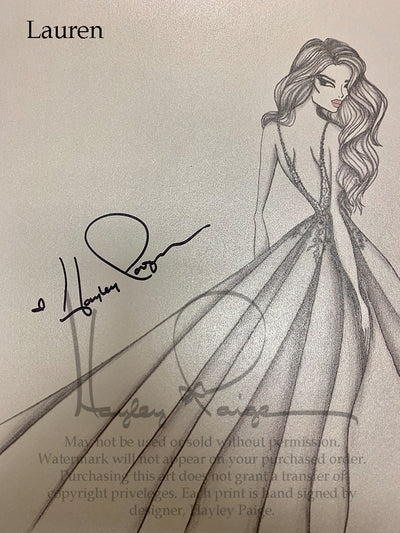Lauren- Hayley Paige Bridal Gown Printed Sketch