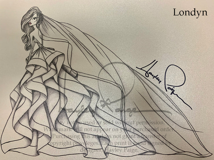 Londyn- Hayley Paige Bridal Gown Printed Sketch