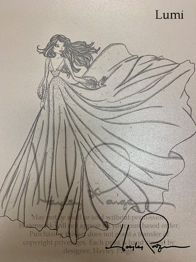Lumi- Hayley Paige Bridal Gown Printed Sketch