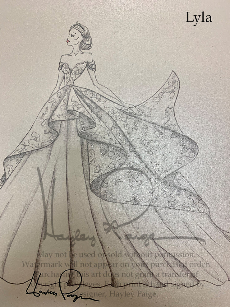 Lyla- Hayley Paige Bridal Gown Printed Sketch