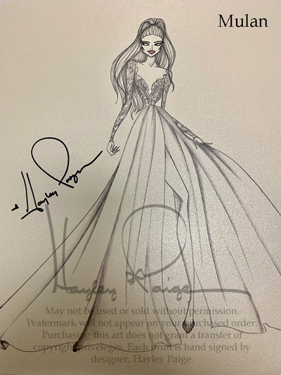 Mulan- Hayley Paige Bridal Gown Printed Sketch