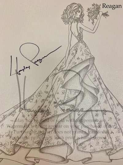 Reagan- Hayley Paige Bridal Gown Printed Sketch