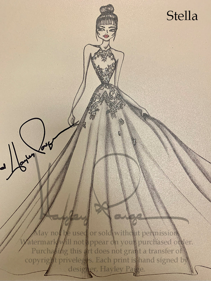 Stella- Hayley Paige Bridal Gown Printed Sketch