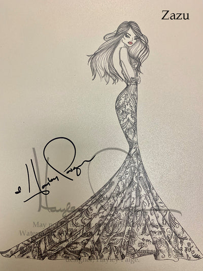 Zazu- Hayley Paige Bridal Gown Printed Sketch