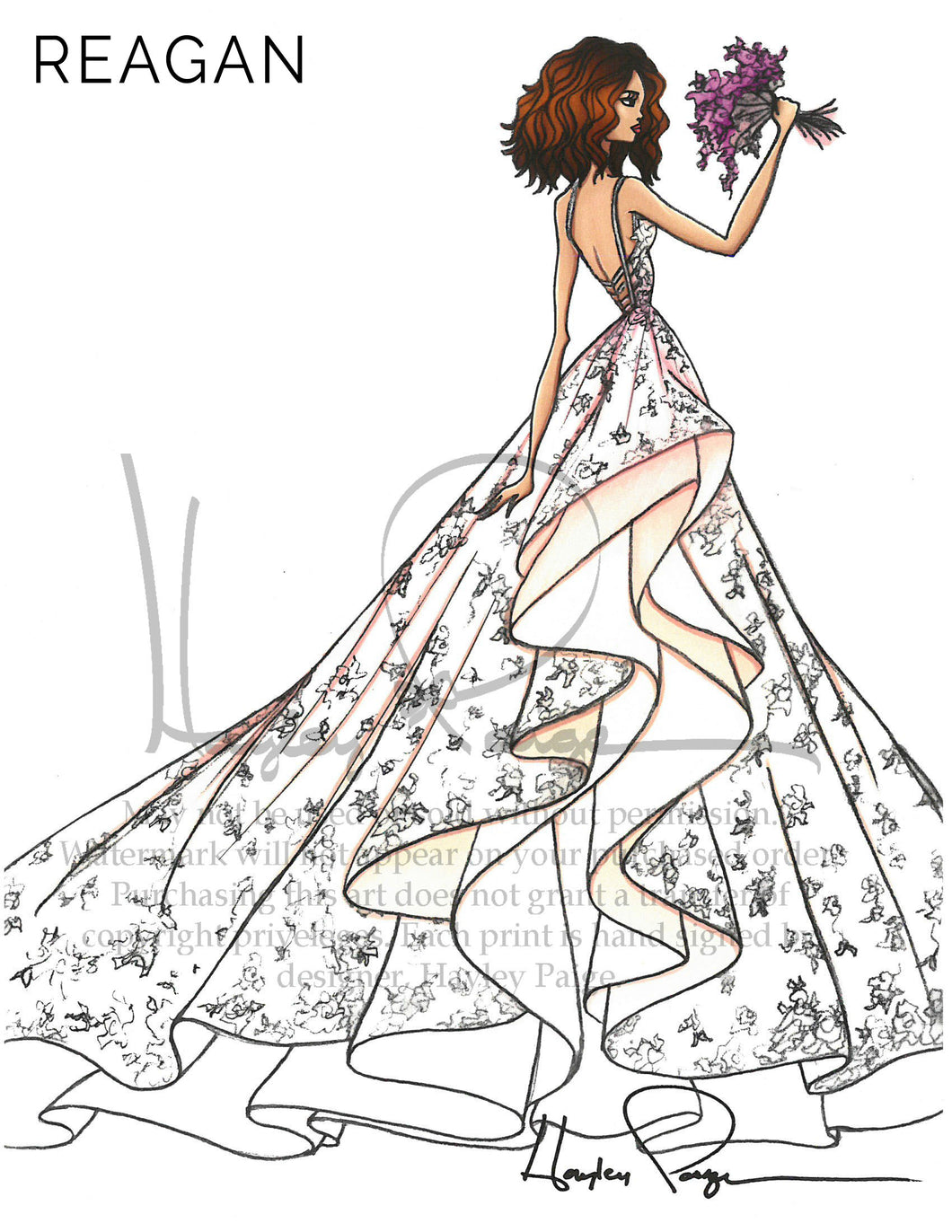 Reagan- Hayley Paige Bridal Gown Printed Illustration