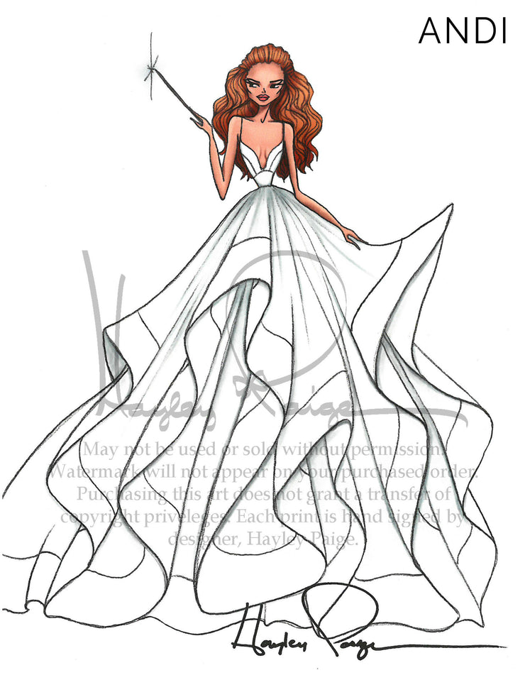 Andi- Hayley Paige Bridal Gown Printed Illustration