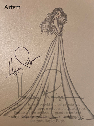 Artem - Blush by Hayley Paige Bridal Gown Printed Sketch
