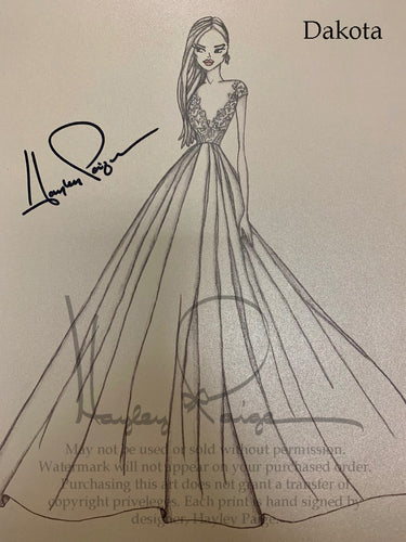 Dakota- Blush by Hayley Paige Bridal Gown Printed Sketch