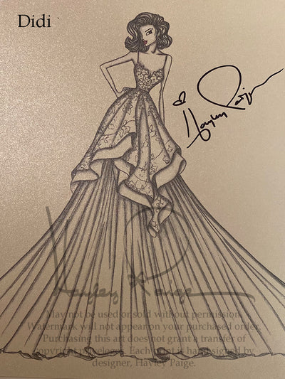 Didi - Blush by Hayley Paige Bridal Gown Printed Sketch