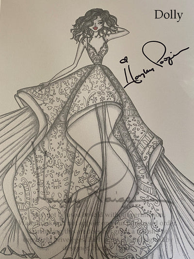 Dolly- Hayley Paige Bridal Gown Printed Sketch