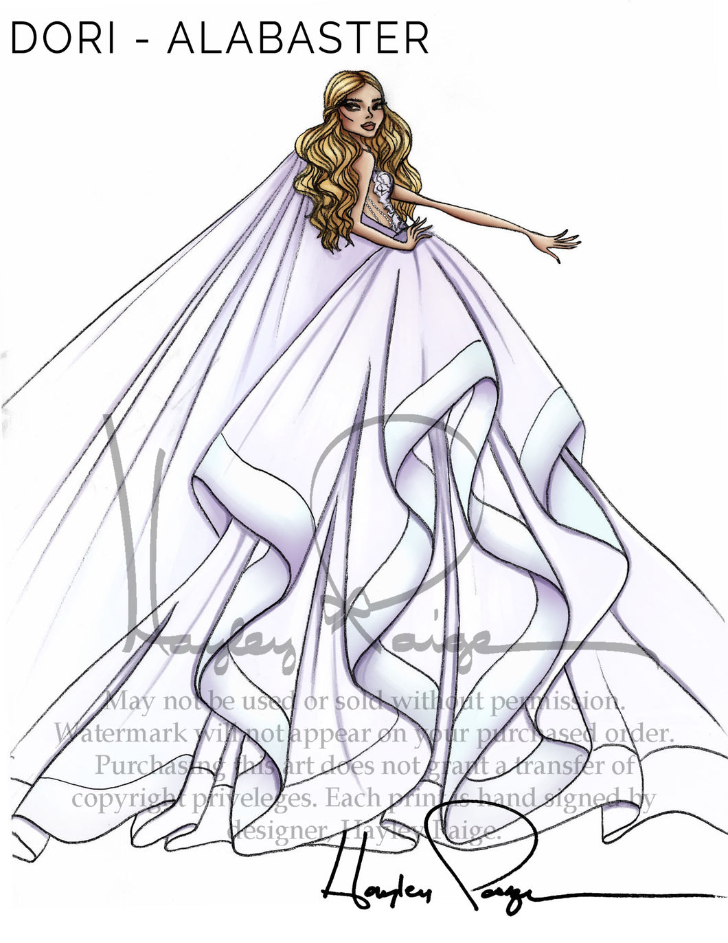 Dori Alabaster- Hayley Paige Bridal Gown Printed Sketch
