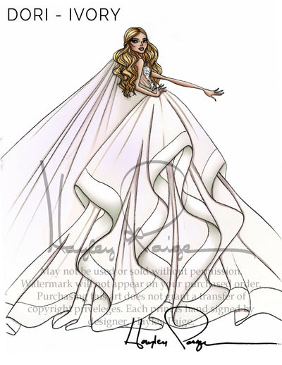 Dori Ivory- Hayley Paige Bridal Gown Printed Sketch