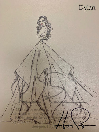 Dylan- Hayley Paige Bridal Gown Printed Sketch