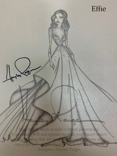 Effie- Hayley Paige Bridal Gown Printed Sketch