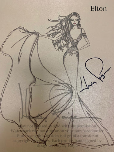 Elton- Hayley Paige Bridal Gown Printed Sketch