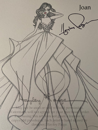 Joan- Hayley Paige Bridal Gown Printed Sketch