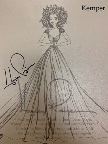 Kemper- Hayley Paige Bridal Gown Printed Sketch