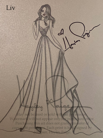 Liv - Blush by Hayley Paige Bridal Gown Printed Sketch