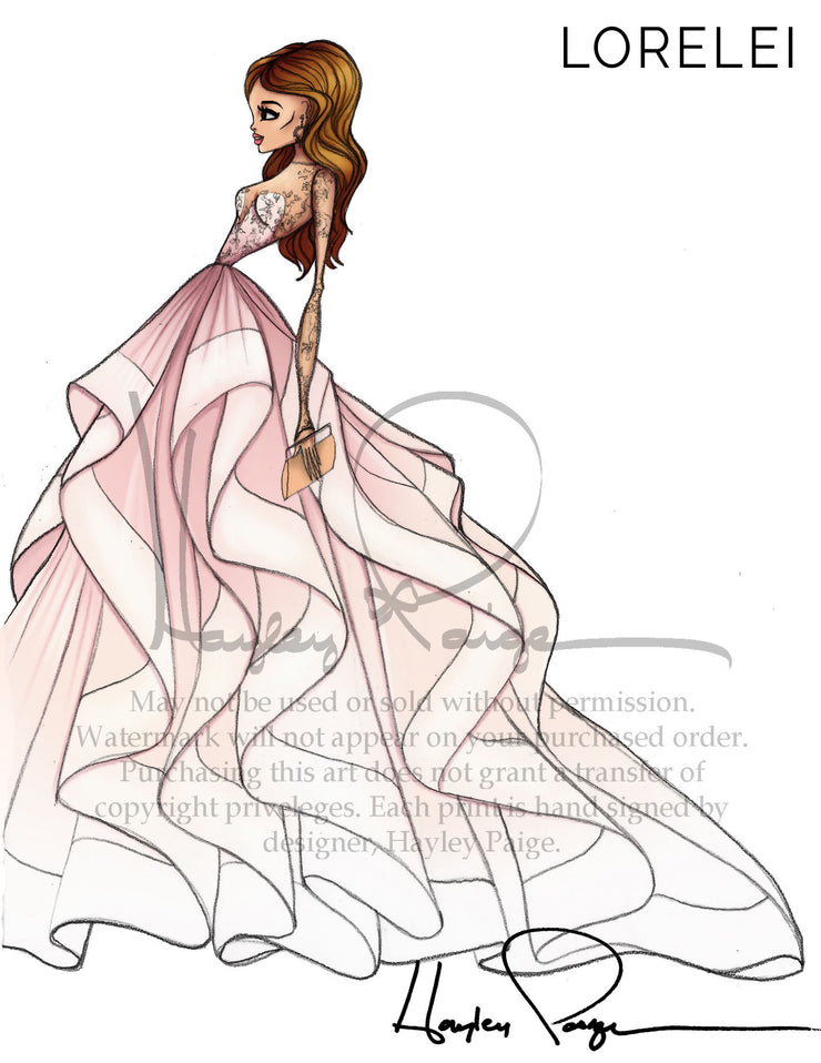 Lorelei- Hayley Paige Bridal Gown Printed Illustration