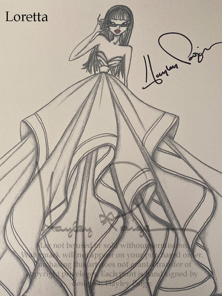 Loretta- Hayley Paige Bridal Gown Printed Sketch