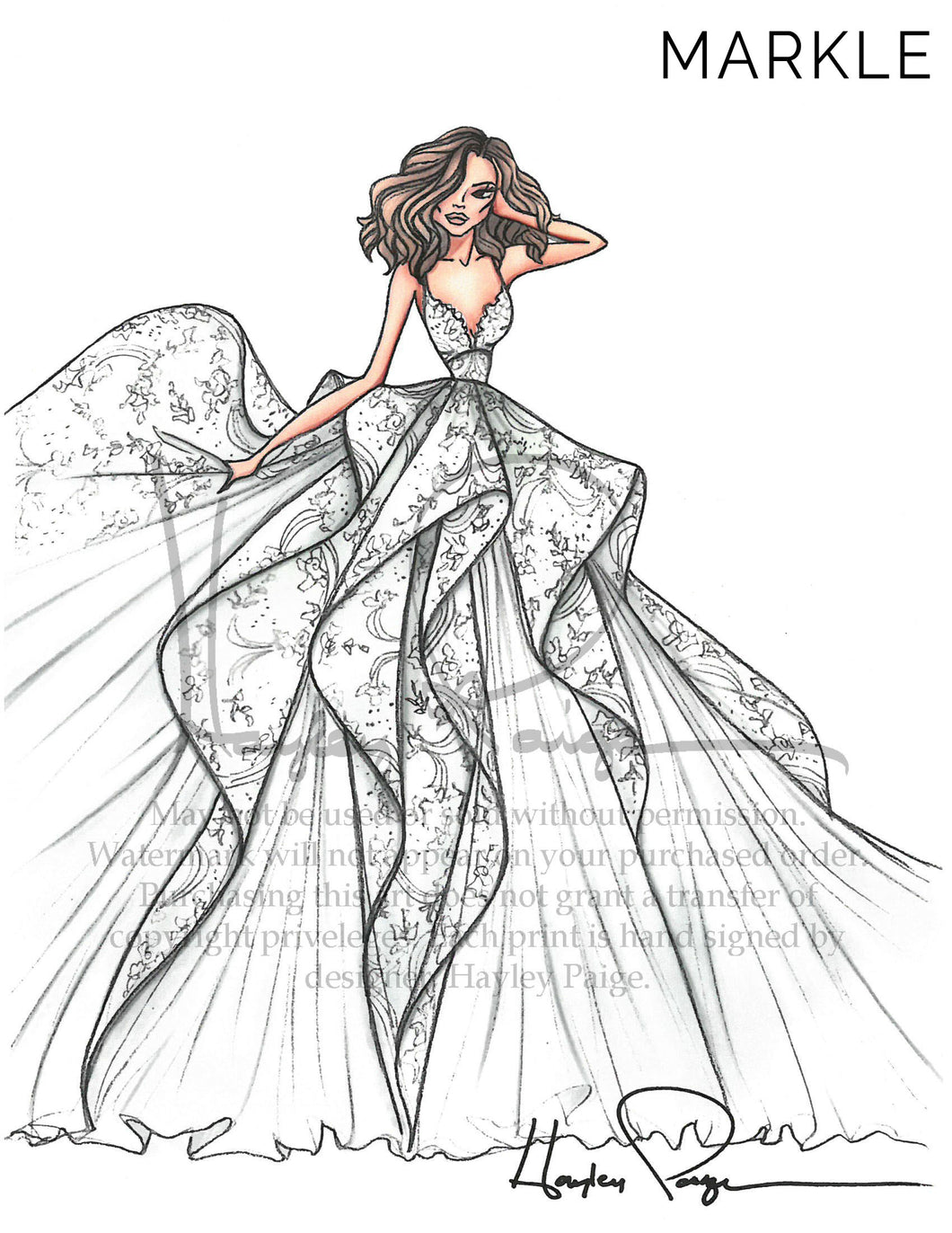 Markle- Hayley Paige Bridal Gown Printed Illustration