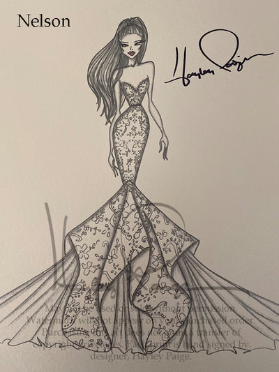 Nelson- Hayley Paige Bridal Gown Printed Sketch