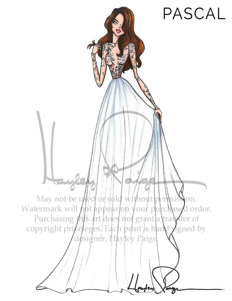 Pascal- Hayley Paige Bridal Gown Printed Illustration