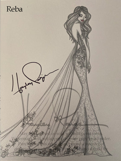 Reba- Hayley Paige Bridal Gown Printed Sketch