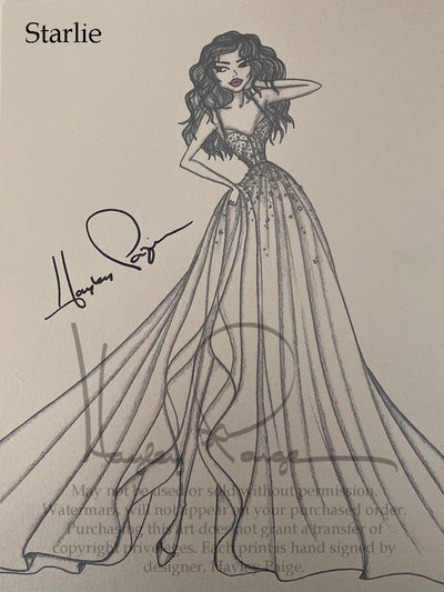 Starlie- Hayley Paige Bridal Gown Printed Sketch