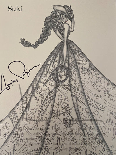Suki- Hayley Paige Bridal Gown Printed Sketch