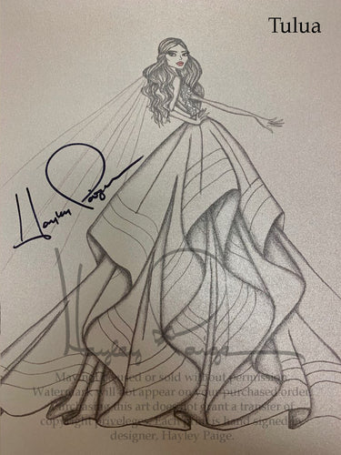 Tulua- Hayley Paige Bridal Gown Printed Sketch