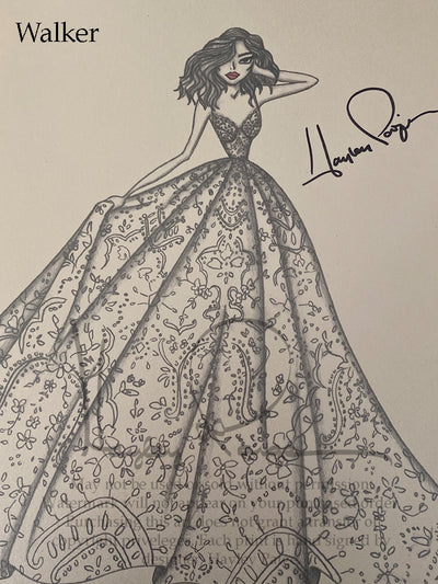 Walker- Blush by Hayley Paige Bridal Gown Printed Sketch
