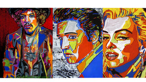 Jimi Hendrix Elvis Presley Marilyn Monroe paintings