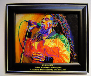 Bob Marley Oil on Glass Original Painting