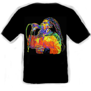 Bob Marley Painting Black T-Shirt Artwork by Erik the Artist