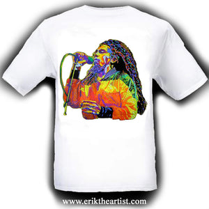 Bob Marley Painting White T-Shirt Artwork by Erik the Artist