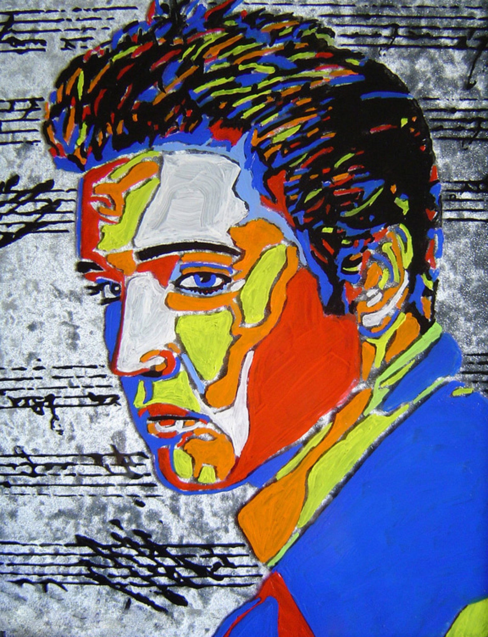 Elvis Presley Hand Painted Signed Painting