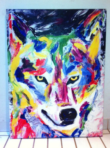 Great White Wolf Ink on Canvas painting by Erik the Artist